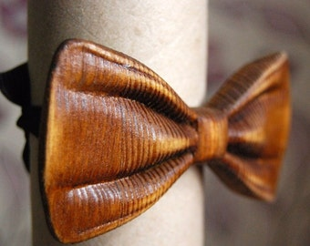 Wooden 3D Bow Tie -Brown Style Design/ Unique Design/ Gift For Men/ Wedding Wood Bowtie /Mens Wooden Bowtie/ Personalized with Name Engraved