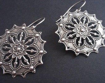 Big Silver Earrings - Big Earrings, Silver Filigree Earrings, Sterling Silver Earrings, Bohemian Jewelry, Hippie Earrings, Hypoallergenic