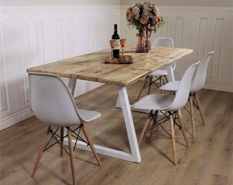 Industrial Dining Table ANY COLOUR Base Rustic Solid Kitchen Steel  Reclaimed Modern Any RAL Colour Powdercoated