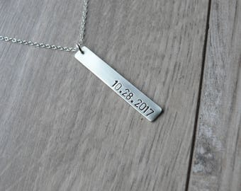 Personalized bar necklace date pendant, vertical bar necklace Sterling silver, anniversary gift for her women custom tag necklace