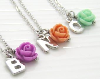 Personalized Flower Girl Necklace•Personalized Flower Girl Gift • Flower Girl Jewely• Children's Initial Necklace•Personalized Necklace Kids