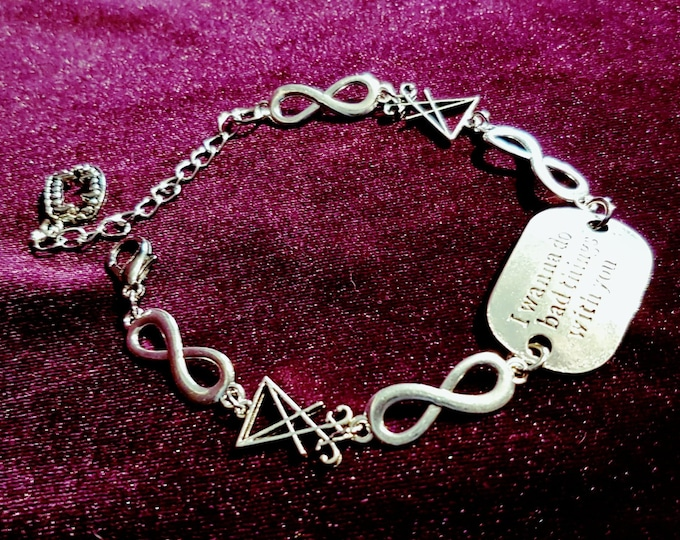I Wanna Do Bad Things With You Bracelet - gothic sigil of lucifer true blood vampire fang infinity jewellery