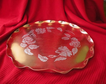Aluminum tray, serving tray, copper color serving tray Round tray, Mid Century