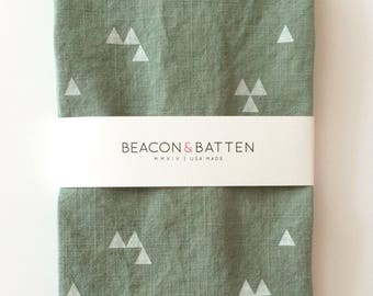 Triangle Towel : Juniper Green Ground - White Print