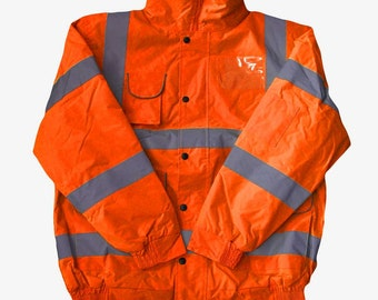 Hi Vis Viz Bomber Jacket Orange High Visibility Reflective Safety Waterproof Work Coat