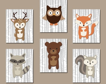 WOODLAND Nursery Art, Woodland Nursery Decor, Wood Forest Animals Wall Art, Woodland Theme Birthday Gift, Canvas or Prints, Set of 6