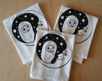 Tea Towel - Owl and Moon Sleep (Blue Stripe)