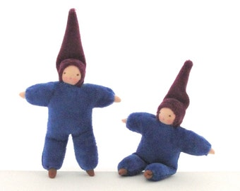 Dollhouse blue boy doll waldorf toy natural fiber small 4D-F1