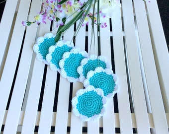 Mint and White Crochet Flower Drink Coasters