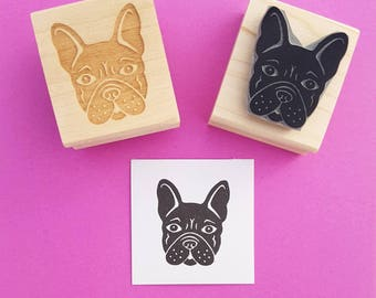 Dog Stamp - French Bulldog Rubber Stamp - Present for Dog Lover - Frenchie - Puppy Stamper - Scrapbooking - Toy Dog - Puppies -  Pooch