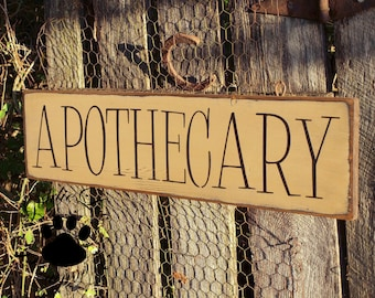 Apothecary, Folkart, Primitive, Word Art, Wood Wall Sign