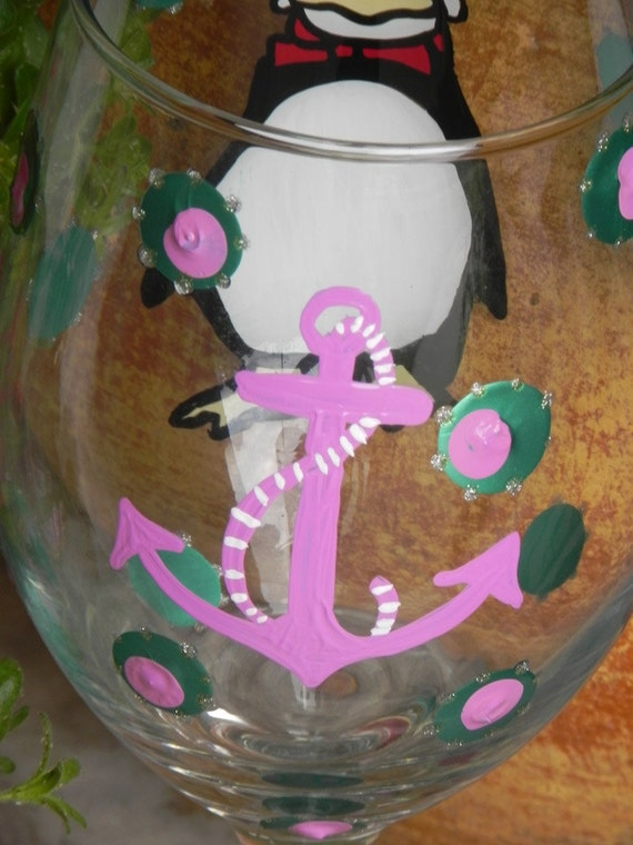 Anchor Design- Painted Wine Glass