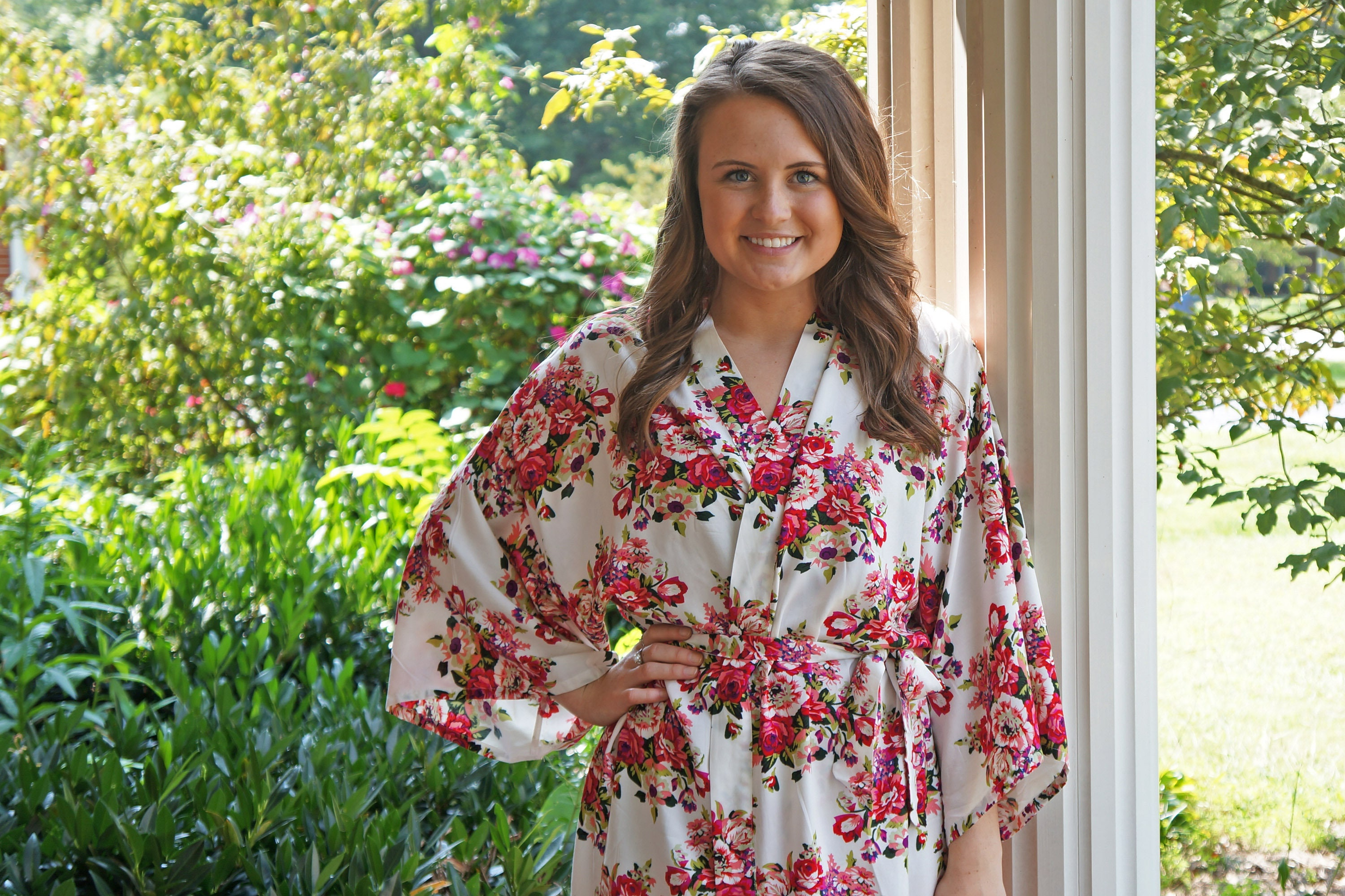 COTTON FLORAL ROBES White Floral Robes Floral Bridesmaid