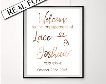 Welcome sign // Welcome engagement // Copper foil // Custom engagement // Custom signs // Names and date // Welcome prints // Copper sign
