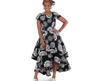 Africa Flare Dress: Black/White