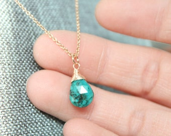 Chrysocolla Rose Gold Necklace