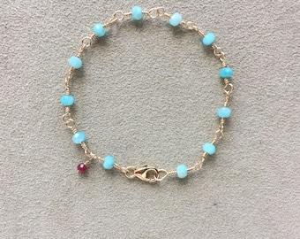 Amazonite & Ruby Bracelet, 14KT Gold Filled Beaded Rosary Chain Bracelet, Blue Gemstone Bracelet, Meditation Bracelet, Gift for her