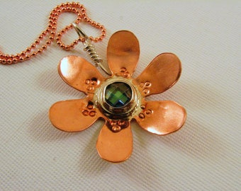 Mixed Metals Sterling Silver and Copper with Checkerboard Alexandrite CZ Flower Pendant Necklace