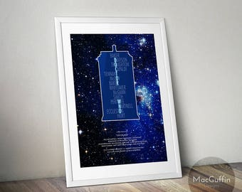 Doctor Who inspired poster - Choose from 3 colours (Made to order)
