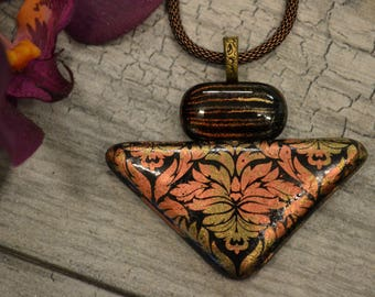 Fused Glass Pendant, Organic Necklace, Statement Necklace, Mica Pendant, Gold and Copper, Triangle Pendant