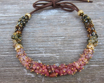 Pink tourmaline necklace Raw tourmaline necklace Tourmaline jewelry Womens gift for her Gemstone necklace Ombre necklace Multicolor necklace