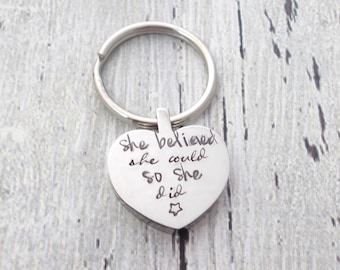 Personalized Heart Keychain, She Believed She Could, Personalized Keychain, Personalized Heart, Friend Gift, Daughter Gift, Graduation Gift