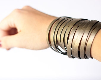 Leather Bracelet / Original Sliced Wrap Cuff / Aged Bronze