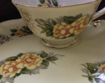 Hand Painted Lefton China Tea Cup and Snack Plate