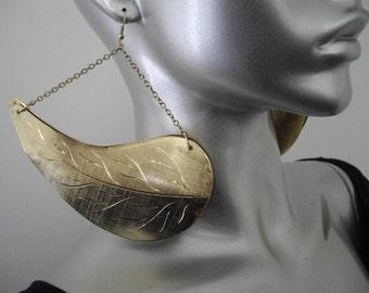 Large Gold Dangle Leaf Earrings