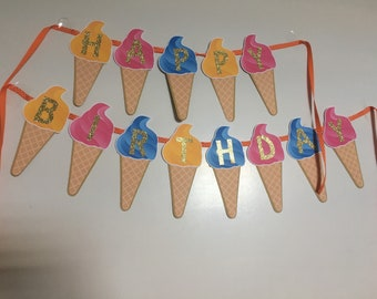 Ice cream cone  Birthday Banner