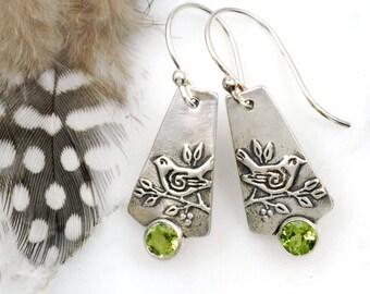 Green Sparrow Earrings - Sterling Silver Bird Earrings with Peridots