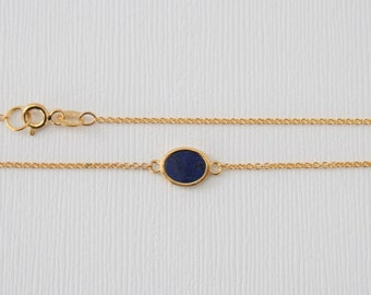 Oval Lapis Lazuli Bezel Necklace in 14K Yellow Gold