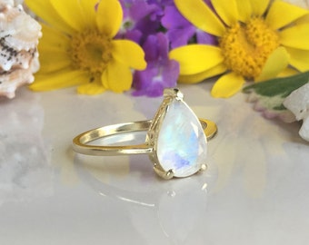 20% off-SALE! Rainbow Moonstone Ring - Genuine Gemstone - Teardrop Ring - Stacking Ring - June Ring - Simple Jewery - Prong Ring - Gold Ring