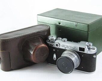 FED 2 Russian Soviet 35mm Film Leica Copy Rangefinder Camera Industar-26m Lens BOX