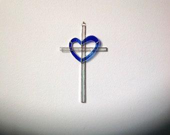 Blue Heart Stained Glass Cross/Sun Catcher