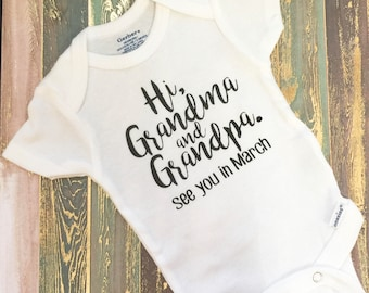 Hi Grandma and Grandpa | Pregnancy Announcement Onesie | Baby ONESIES® | Pregnancy Reveal | To Daddy | To Grandparents | Pregnancy | Gift