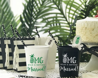 Pineapple Party | Customizable Plastic Cups | Birthday, Wedding, Engagement Bridal Parties or Baby Shower | social graces and Co. Favors