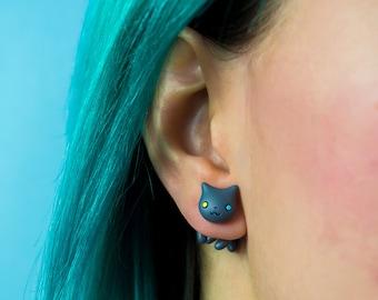 Cute cat earrings polymer clay stud earrings kawaii cats posts cats jewelry kitty lover gift fake gauge plug stud earrings best friend gift