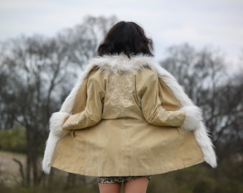 I'll Take You There - Penny Lane Coat, Large, Shearling Coat, Almost Famous Coat, Faux Shearling, Embellished, Afghan Coat