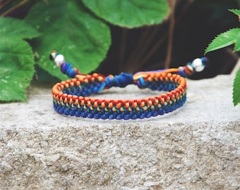 Rainbow stripe bracelet /  sterling silver beaded  Yoga String Personalized Femme Homme  Rope Handmade with love knots Waterproof minimal