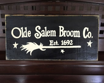 Olde Salem Broom Company  Est. 1692 Sign Plaque Wooden Happy Halloween Rustic Old Witch Magic Decor