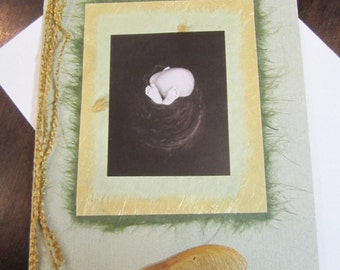 Nest - handmade card honoring motherhood, baby, Rumi, Geddes, mother, lovely, textures, inspiration, maternity, pregnancy, delivery, shower