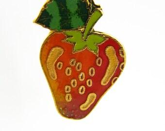 Strawberry Pin - Vintage Strawberry Brooch