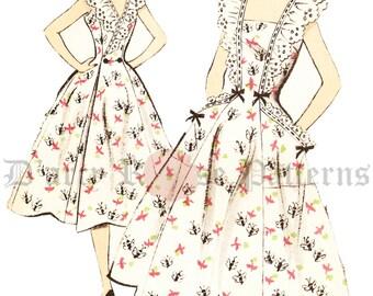 Advance 502 RARE Vintage 1950s Back Wrap Pinafore Sun Dress Sewing Pattern Sz 14