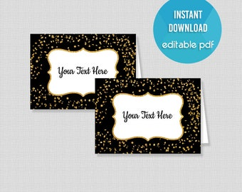 Black Food Tent Cards, EDITABLE Black & Gold Glitter Confetti Food Labels, Place Cards, Editable Buffet Signs, INSTANT PRINTABLE