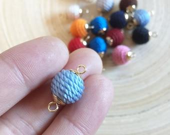 Handmade 11mm Gold Capped Bon Bon Beads, Thread Balls, One Loop/Two Loops