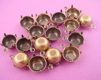 12 antique brass ox 41ss round 9mm prong closed back settings with 1 loop