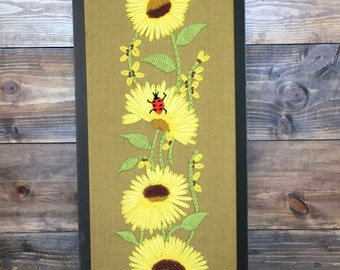 70's Crewel Embroidery with Yellow Flowers