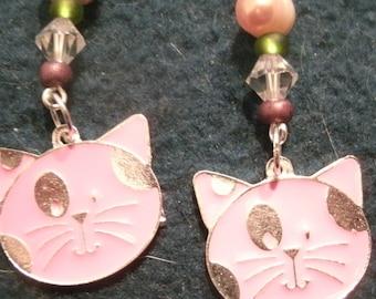Pink Enamel Kitty Cat Charm Beaded Dangle Earrings