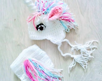 Novelty unicorn hat and nappy cover set for newborns, rts, 1 available, photography prop, UK seller, newborn girls outfit.